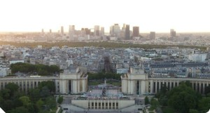 Paris' 16th borough (front) and La Defense (back)